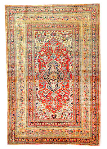 A Silk Tabriz rug  Northwest Persia size approximately 4ft. x 6ft.
