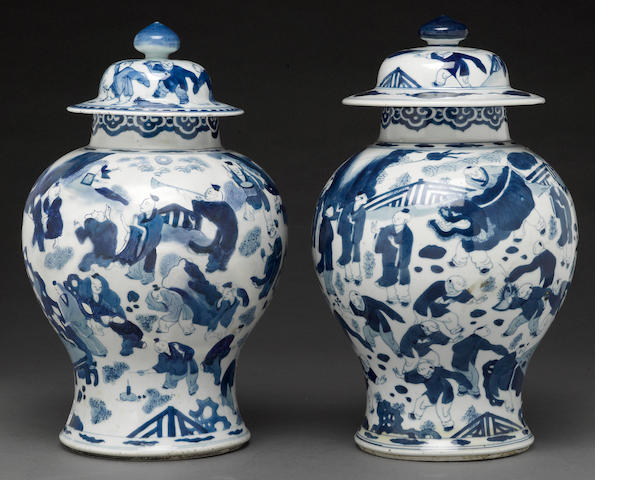 "A pair of blue and white porcelain vases of ""100 boys' 18th century"
