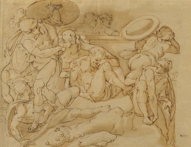 Italian School, 18th Century Figure studies 10 1/2 x 13 1/2in