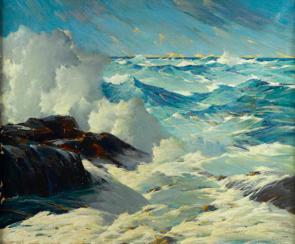 Gustave Cimiotti, (rough shoreline, angry sea)
