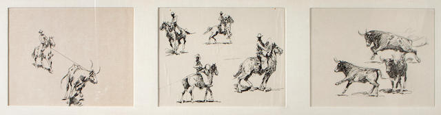 Edward Borein (American, 1872-1945) Cowboy lassos bull; Cowboys with lasso; Two Cowboys lasso bulls (3) each sight 8 x 11 3/4in