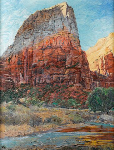 Merrill Mahaffey (American, born 1937) Angel's Landing, Zion 42 x 32in
