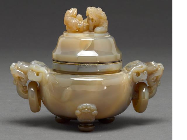 A carved agate tripod censer with cover, now with metal hinge to lid