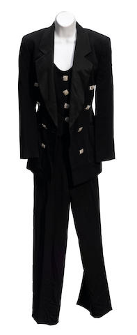 A Gianfranco Ferré black tuxedo jacket, vest and pant suit