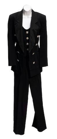 A Gianfranco Ferré black tuxedo jacket, vest and pant suit