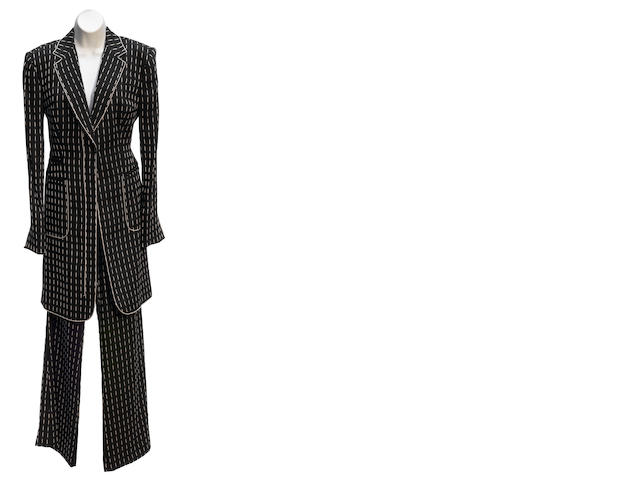 A Gianfranco Ferré black and white jacket and pant suit