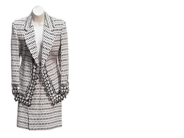 A Gianfranco Ferré black and white floral design crochet jacket and skirt suit