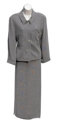 A Chanel grey jacket, shell and long skirt suit
