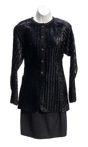 A Geoffrey Beene navy velvet trim silk linen jacket