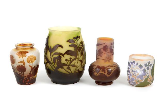 A group of four Gallé cameo glass vases circa 1900
