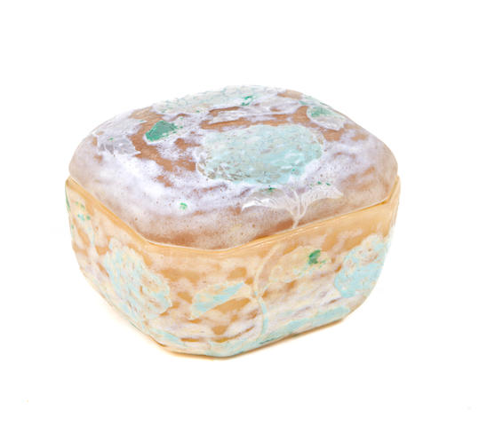 A Daum Nancy vitrified cameo glass covered box, early 20th Century