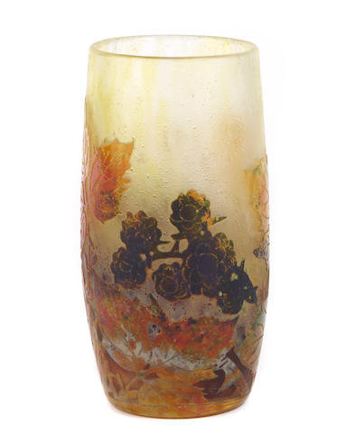 A Daum Nancy vitrified cameo glass leaf and berry vase circa 1910