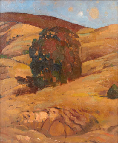 California School Foothills and Trees 22 x 19in