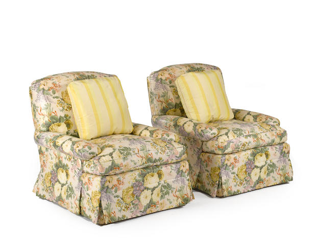 A pair of Sister Parish upholstered club chairs