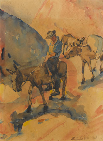 Selden Connor Gile (American, 1877-1947) Mule team descending a hill, 1931 11 x 8in