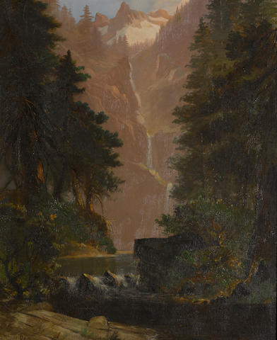 Edwin Deakin (American, 1838-1923) Yosemite waterfall 24 x 20in