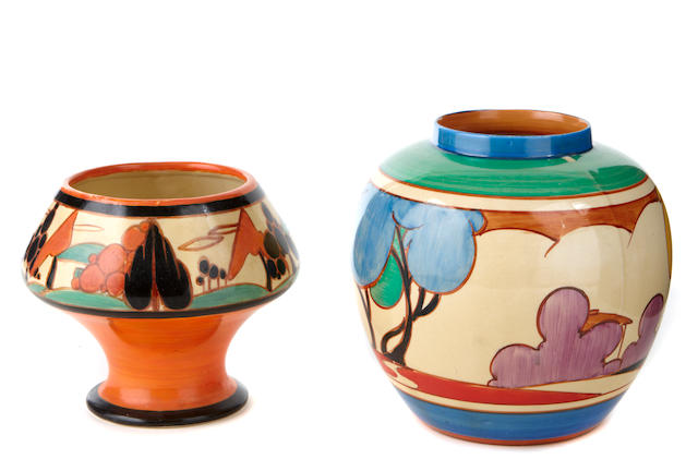 A Clarice Cliff Trees and House vase and a Blue Autumn jar shapes 341 and 132