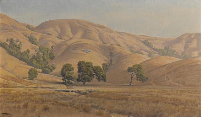 Jack Wisby (American, 1870-1940) Rolling California hills in summer 14 x 24in