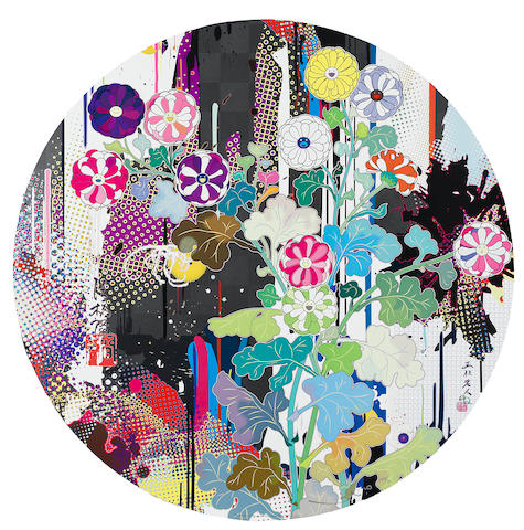Murakami (2), Kansei: Abstraction (diameter 71cm - offset print, cold silver and high gloss varnishing), Flower Smile (50 x 50cm - offset print with cold stamp)