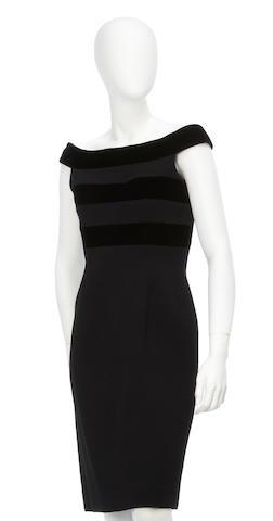 An Oscar de la Renta black crepe and velvet dress