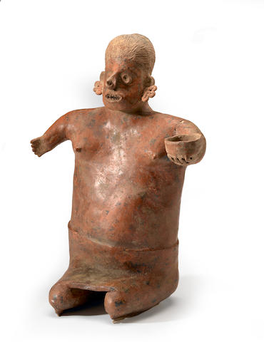 A large Nayarit female figure with bowl.