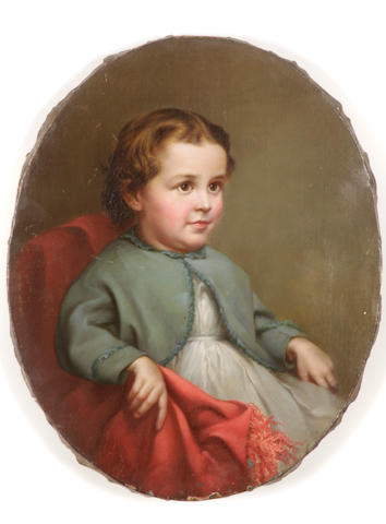 American School, Portrait of a young girl, seated, unsigned, oil on canvas, 15 x 12in