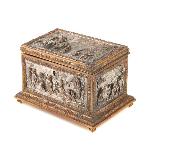 A Continental silvered and gilt-metal table casket Late 19th / 20th century