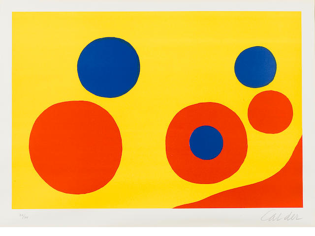 Alexander Calder (American, 1898-1976); Untitled (Orange and Blue Spheres);
