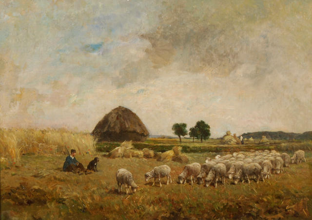 Félix Saturnin Brissot de Warville (French, 1818-1892) A shepherd and his flock in a meadow 15 1/4 x 21 1/4in