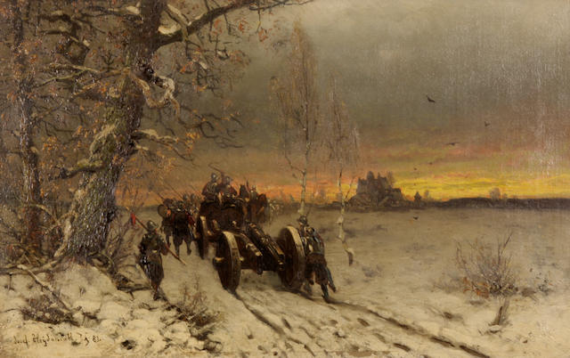 Friedrich Josef Nicolai Heydendahl (German, 1844-1906) A winter scene with soldiers on a road transporting a horse-drawn cannon 12 1/4 x 19 1/2in