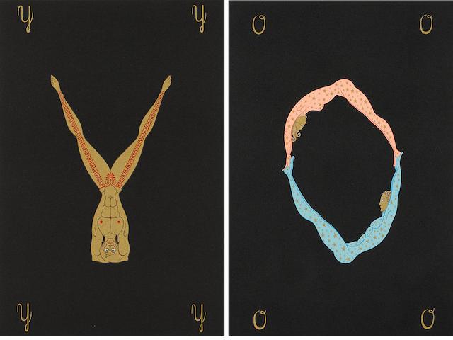 Erté (Romain de Tirtoff) (Russian, 1892-1990); Letters O; Y, from Alphabet Suite; (2)