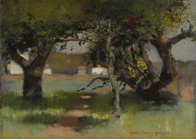 Charles Rollo Peters (American, 1862-1928) Wooded path in sunlight and shade 10 x 13 3/4