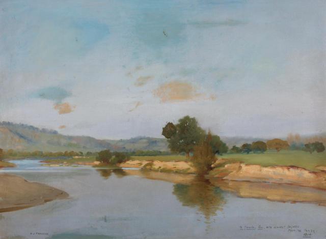 Henry Jones Thaddeus (British, 1860-1929) A river landscape 17 3/4 x 33 1/2in