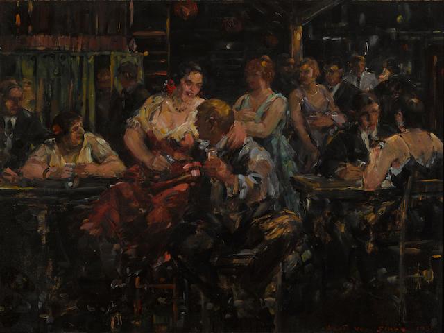Frank Van Sloun (American, 1879-1938) A boisterous bar, 1937 9 x 12in