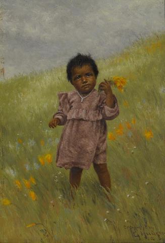 Grace Carpenter Hudson (American, 1865-1937) Indian girl picking poppies, 1905 7 x 5in