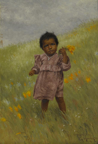 Grace Carpenter Hudson (American, 1865-1937) Indian girl picking poppies, 1905 7 x 5in