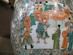 A pair of large famille verte enameled porcelain fish bowls