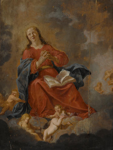Jan Marienhof (Dutch, 1599-1657) The Virgin of the Cloud 20 x 15in (50.2 x 38.1cm)