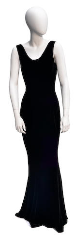 A Richard Tyler black velvet sleeveless cowl neck gown