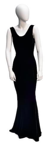 A Richard Tyler black velvet sleeveless cowl neck gown