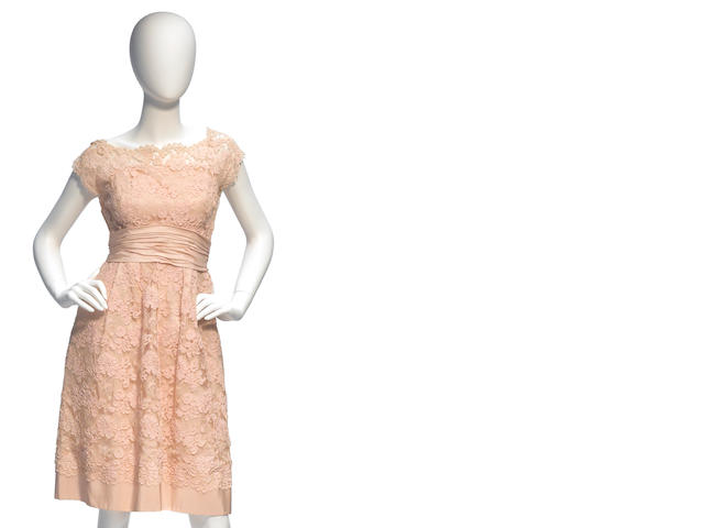 A Frank Starr peach lace and taffeta dress
