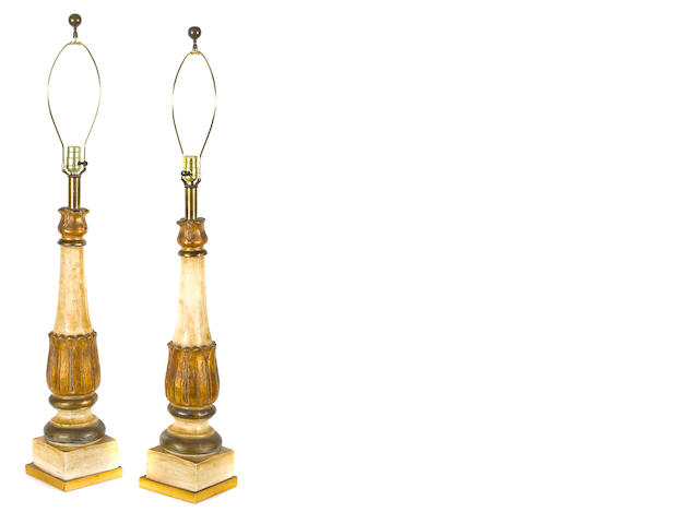 A pair of Baroque style paint decorated table lamps