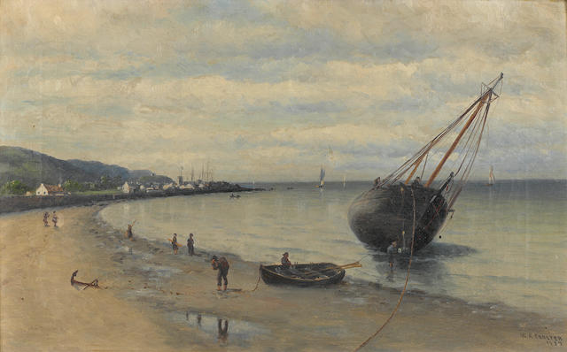 William Alexander Coulter (1849-1936), Boats along the Dutch Coast, signed and dated '1892', oil on canvas, 12 x 20in