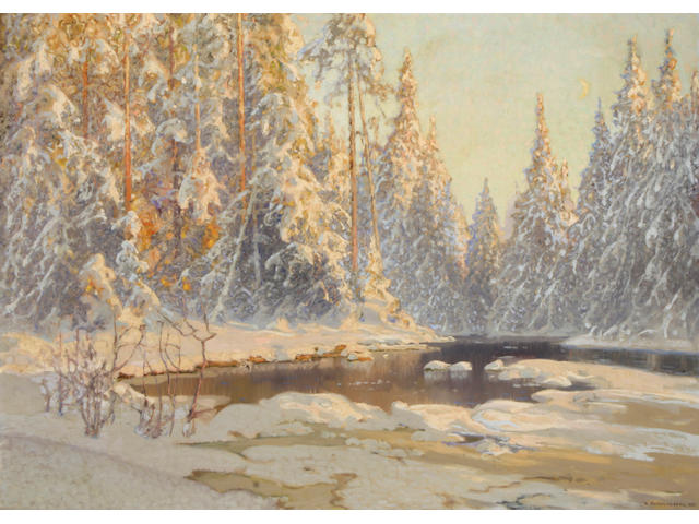 Anshelm Schultzberg (Swedish, 1862-1945) Winter in the forest 32 x 45 3/4in