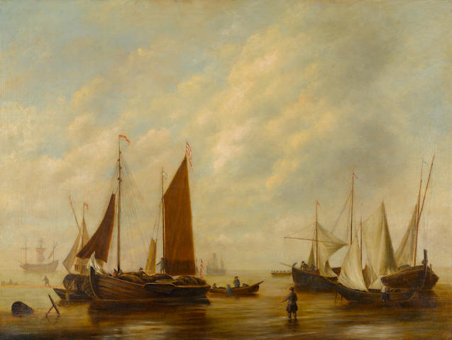Dutch School, 20th Century Fishing boats near the shore 30 x 40in