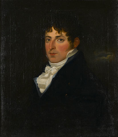 English School, 19th Century A portrait of a gentleman, half-length 28 x 24in