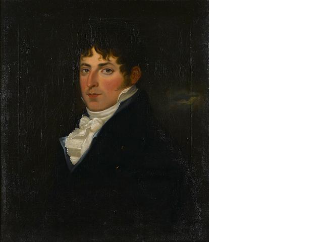English School, 19th Century A portrait of a gentleman, half-length 28 x 24in