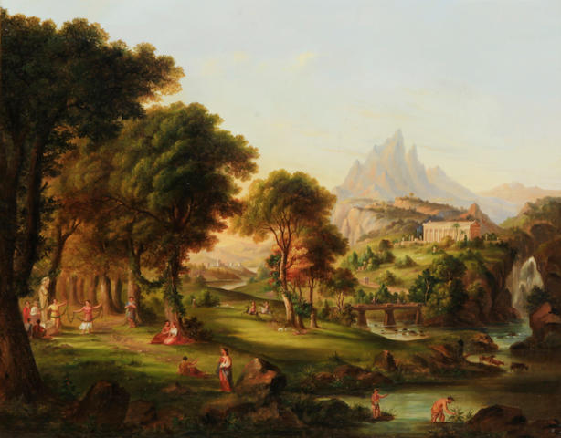 After Thomas Cole (American, 19th Century), Dream of Arcadia, unsigned, oil on canvas, 27 x 34in