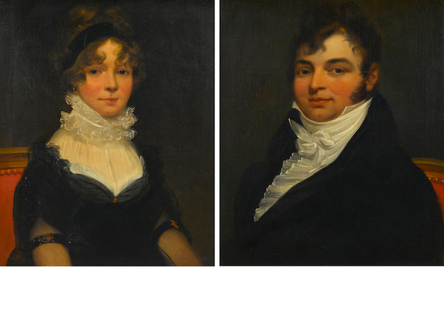 American School (19th Century), A pair of portraits: A man with white shirt; A lady with a white ruffled collar (2), each unsigned, each oil on canvas, each 24 x 20in