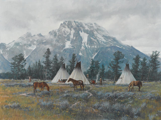Del Parson (American, born 1948) Spring camp, 1981 30 x 40in unframed